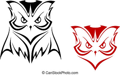 Owl mascot in two variations for tattoo or emblem design