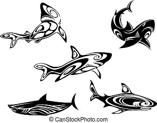 Shark tattoos - Set of shark tattoos in tribal style...