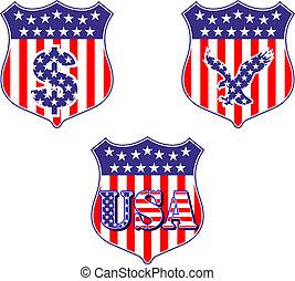 USA geraldic shileds and blazons