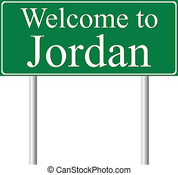 Welcome to Jordan, concept road sign isolated on white...