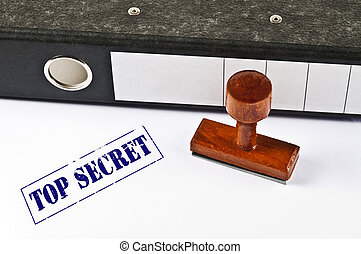 Top Secret stamp on white paper