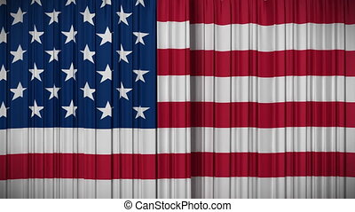 USA flag curtain opening closing - Highly detailed 3d...