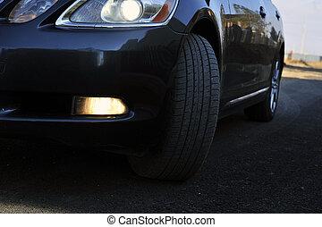 coche, lujoso, negro, deportes