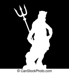 figure of Neptune - silhouette of Neptune with trident -...