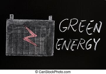 Green energy symbol drawn with chalk on a blackboard