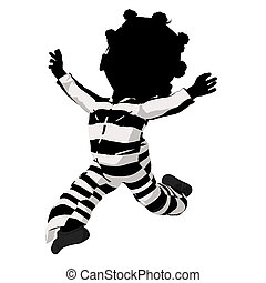 Little African American Criminal Girl Illustration - Little...