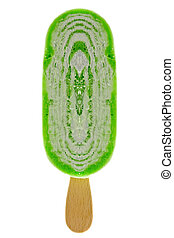 green kiwi ice cream isolated on white background