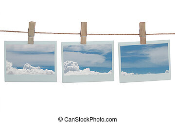Polaroid templates with blue clouds - Polaroid templates...
