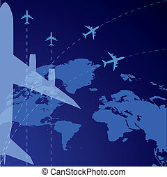 airplane, background - vector background with world map and...