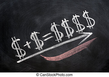 Dollar sign formula written in chalk on blackboard
