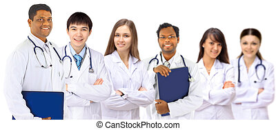 A group of good doctors Isolated on a white background