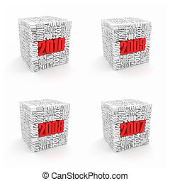 New year 2010, 2009, 2008, 2007. Cube consisting of the...