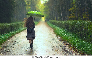 Girl under Rain - beautiful girl walking under rainfall in...