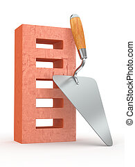 Trowel and brick on white background