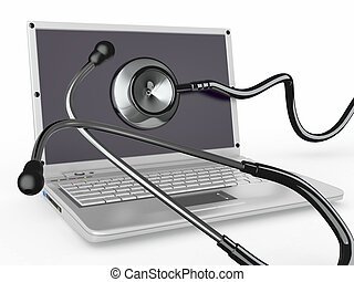 Service for laptop repair. Laptop with stethoscope