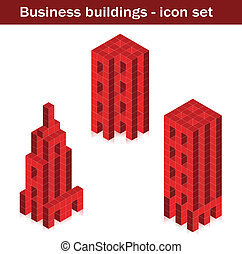Vector business buildings - skyscrapers created of cubes