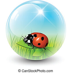 Spring sphere - Sphere with spring inside, vector shiny ball...