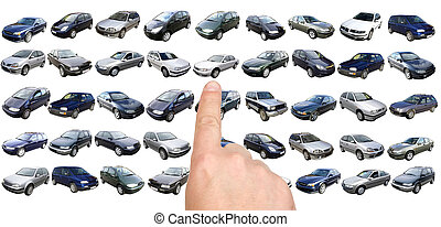 Man is choosing car with finger - Man is choosing car from...