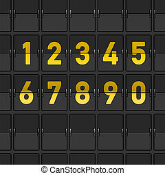 Airport Dashboard with Numbers - Yellow Flipping board with...
