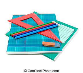 office supplies on white background