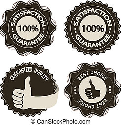 Vector brown satisfaction guarantee labels