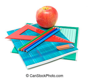apple and supplies on a white background
