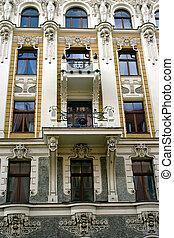 Building of Nouveau Jugendstyle - Detail of Art Nouveau...