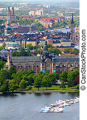Stockholm, Sweden Aerial view of famous Djurgarden island...