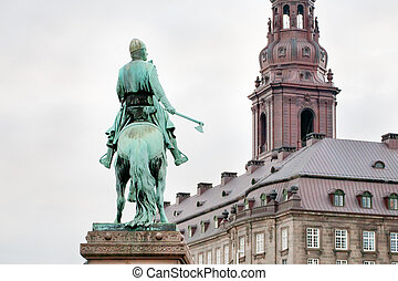Statue of Absalon in Copenhagen, Denmark - view on...