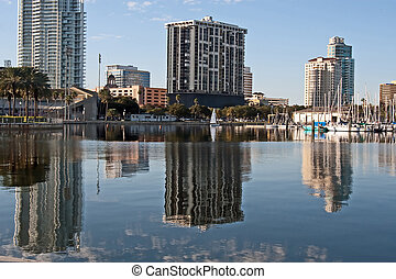 St Petersburg, FL Reflections 2012 - Downtown cityscape and...