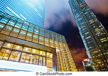 modern office building in dusk of shanghai chian.