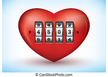 Heart with a combination lock - Vector illustration of a...