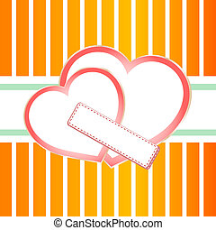 Pastel ornate background with two hearts