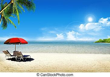 Tropical island: ocean sea and tropical beach with palm,...