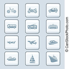 Transportation icons | TECH series - Modern and vintage...
