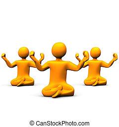 Yoga - Orange cartoons make yoga on white background.