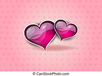 two hearts on the pink background