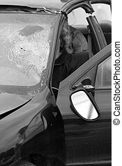 Desaturated car accident. - Abstract desaturated closeup...