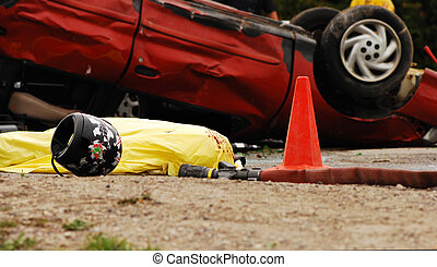 Accident scene with body (mock).