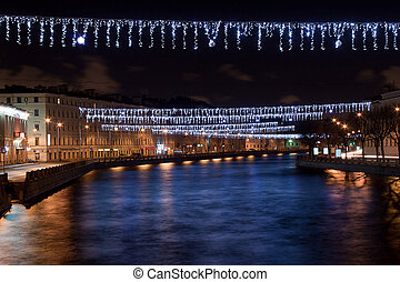 Fontanka river St Petersburg, Russia - Night Christmas view...
