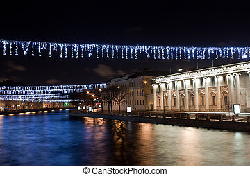 Fontanka river. St. Petersburg - Night Christmas view of...