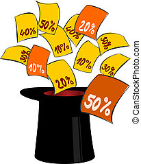 Magic hat with discount labels