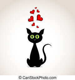 Love cat - Vector st Valentines greeting card