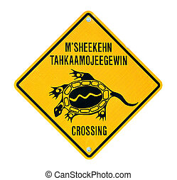 Ojibwa turtle crossing sign. - Ojibwa language turtle...