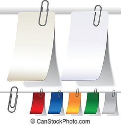Vector blank curled labels with paperclips