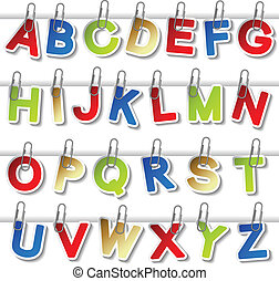 Vector stickers of alphabet with paperclip - own font