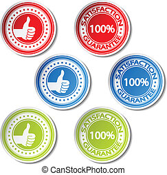 Vector satisfaction guarantee stickers - gesture hand
