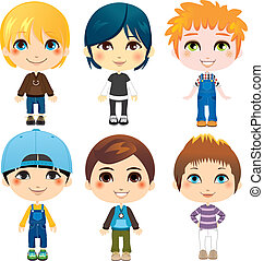 Six Little Boys - Six cute little boys from diverse ethnic...