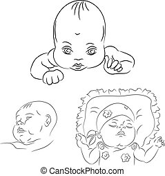 sketch set of the baby