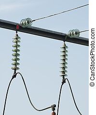 High-voltage wires and transformers. Electrical distribution...